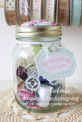 Kilner Sewing Jar and pincushion using Crafty Organization and Cross Stitch set also using the new Fancy Label 1 Die.