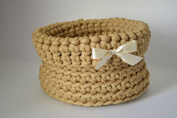 Gold basket/ rope crochet/ storage basket/ home decor by iKNITSTORE on Etsy