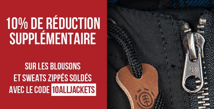 10% de réduction SUPPLÉMENTAIRE sur tous les blousons et tous les sweats zippés déjà soldés. Pour bénéficier de l'offre, insérez le code promo 10ALLJACKETS dans le panier de votre prochaine commande sur notre skateshop en ligne ou indiquez-le en caisse lors de votre passage chez PLAY Skateshop Béziers.