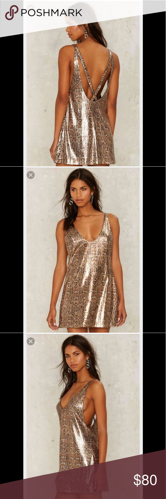 Nast gal cold hearted snake gold sequin dress Cute with belt on :) Nasty Gal Dresses Mini