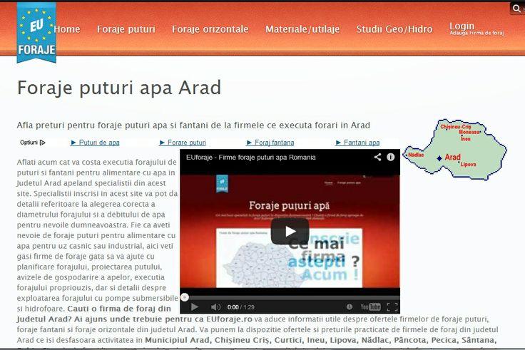 http://www.euforaje.ro/foraje-puturi-arad Atunci cand cauti o firma de foraj din Judetul Arad e bine sa sti ca exista acest portal EUforaje.ro poate fi resursa de care ai nevoie pentru alimentare cu apa.