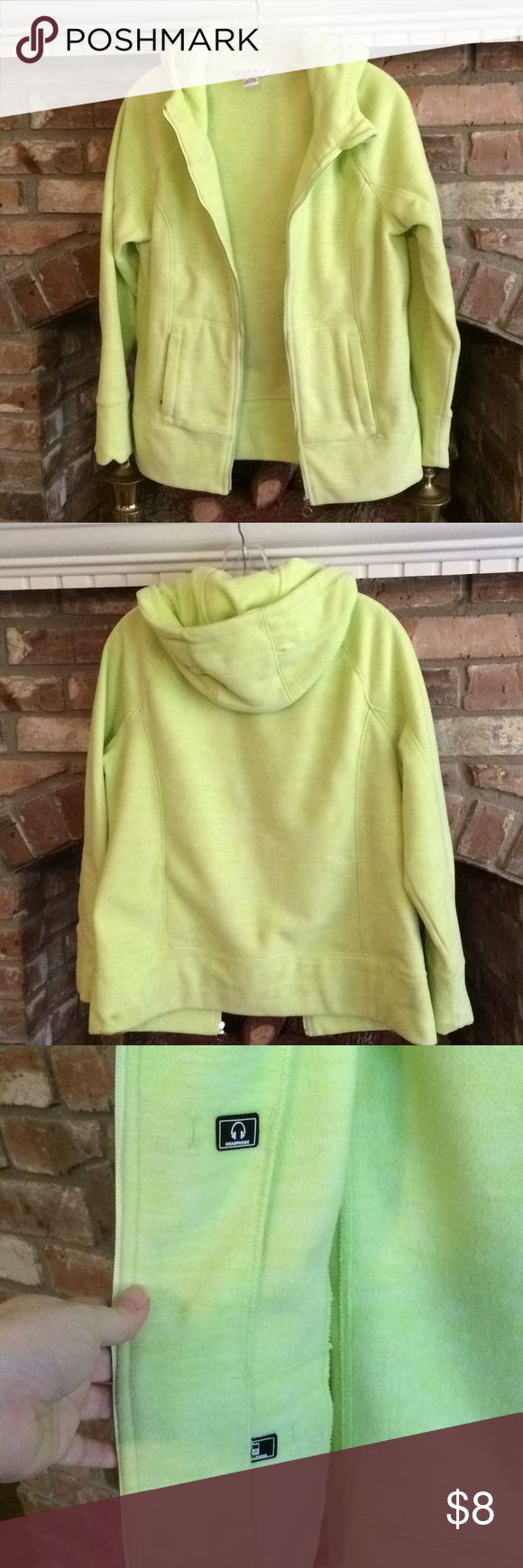 Ladies hooded fleece jacket Ladies lime green hooded fleece jacket. Size L. Has an inside pocket for a cell phone and headphones. Has a small dark smudge on the lower left back noted in the photos. Unlisted Jackets & Coats