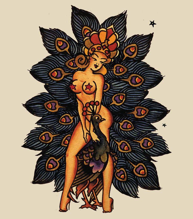 Sailor Jerry Peacock Girl #SailorJerry, #Peacock, #Tattoo, #Vintage