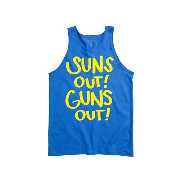Wellen Suns Out Guns Out Tank found on PolyvoreFormal 2012, Men Clothing, Guns, Style, Shirts, Fist Pump, Sun, Tanks, Families Mottos