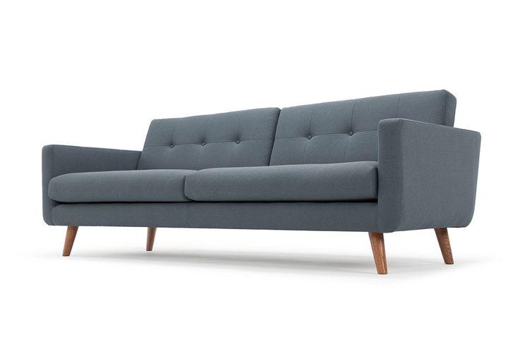 Conrad, 3-seater sofa, Lux Smoke Blue, Smoked Oak Legs