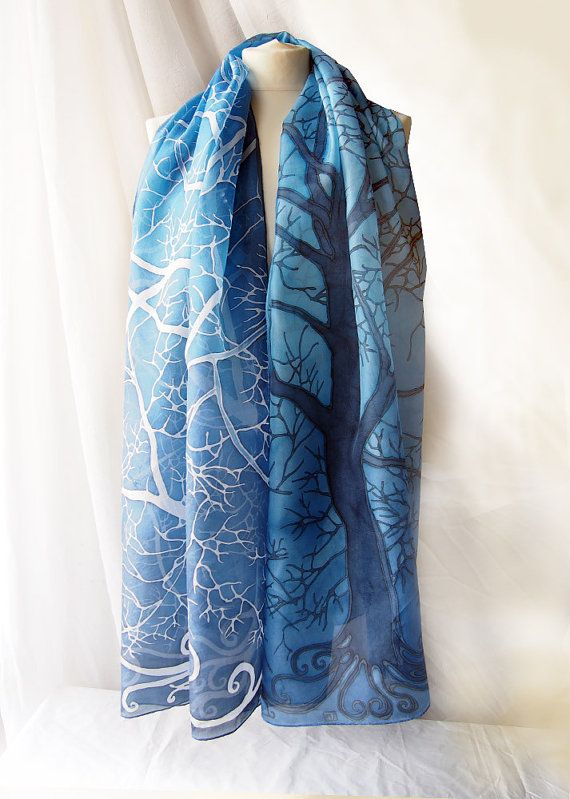 Grote sjaal blauw pareo bomen in blauw enorme zijden sjaal