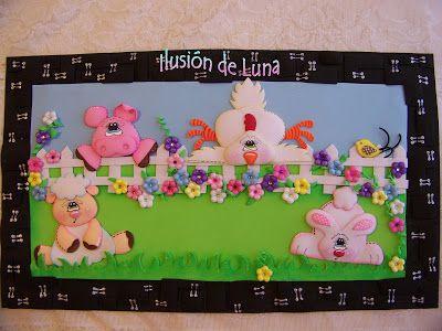 Detalles Ilusión de Luna: Cuadro de animales de granja en foamy o goma eva