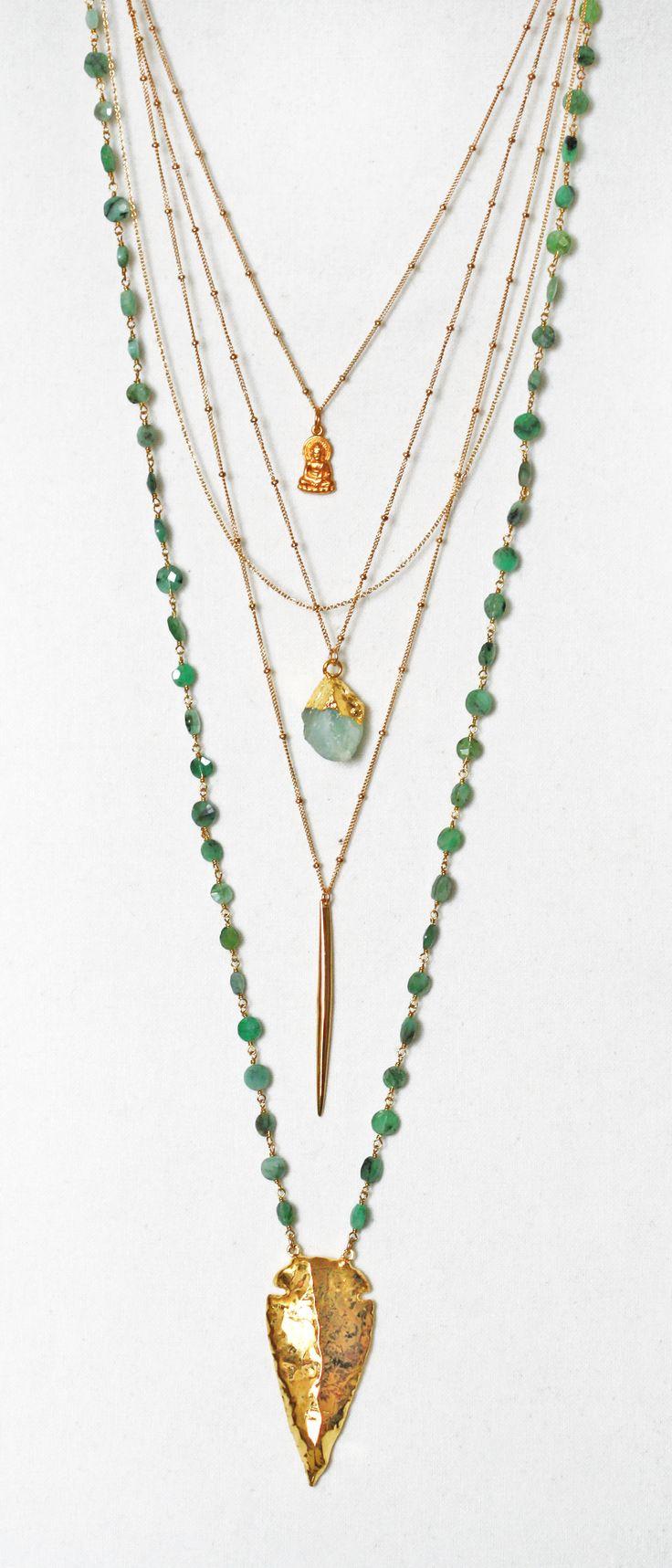 green + gold layered chains | kei jewelry