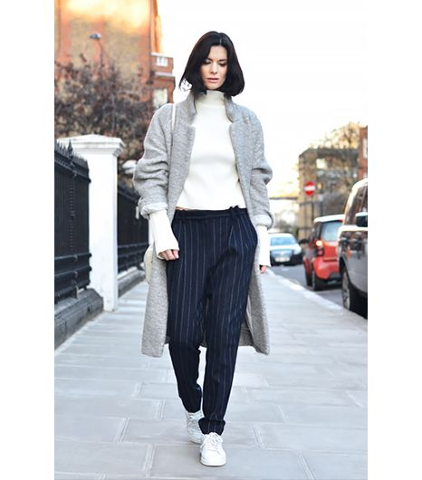 @Who What Wear - Hedvig Opshaug of The Northern Light                 On Opshaug: Mango Pinstripe Wool-Blend Suit Trousers ($35)