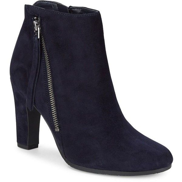 Sam Edelman Women's Suede Ankle Booties ($150) ❤ liked on Polyvore featuring shoes, boots, ankle booties, navy, faux suede booties, navy suede booties, navy blue suede booties, navy blue ankle boots and navy ankle boots