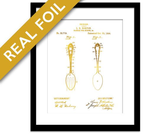 Spoon Patent Drawing Gold Foil Art Print - Antique Vintage Spoon Poster - Cooking Baking Kitchen Chef Poster - Gadget Utensil Wall Art