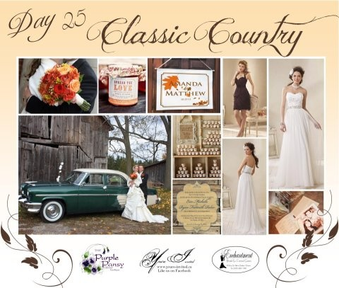 Day 25 Classic Country Wedding. The Purple Pansy www.purplepansy.ca You're Invited www.youre-invited.ca Enchantment Bridal www.enchantmentbr... Picture of You're Invited Invitations Enchantment Bridal Dresses & The Purple Pansy Floral Arrangements