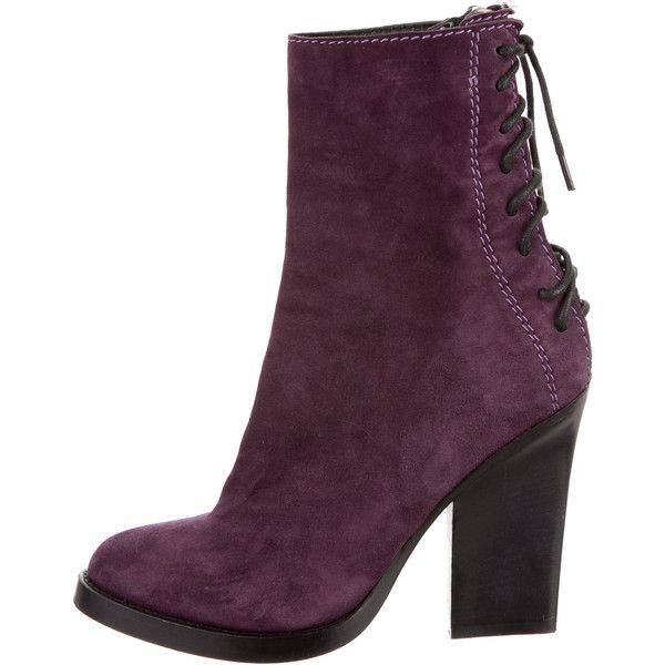 Pre-owned Haider Ackermann Suede Lace-Up Ankle Boots ($225) ❤ liked on Polyvore featuring shoes, boots, ankle booties, purple, short lace up boots, purple ankle boots, purple boots, short boots and suede lace-up boots