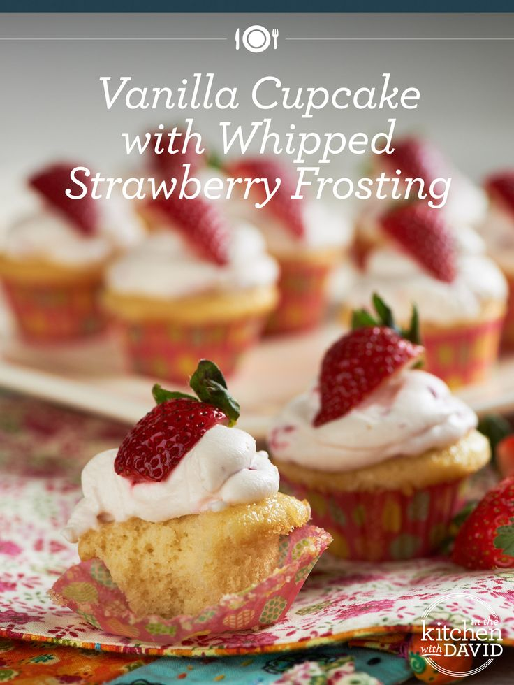 These Vanilla Cupcakes with Whipped Strawberry Frosting are almost too cute to eat; but not quite!