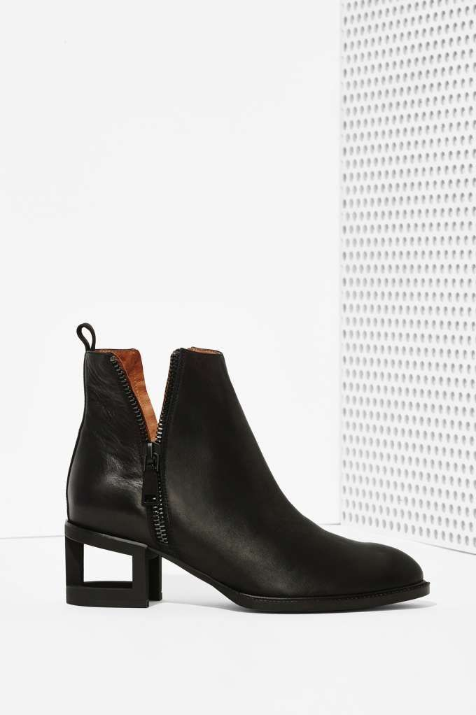 Jeffrey Campbell Boone Leather Bootie - Blackout at Nasty Gal