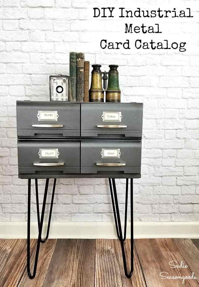 Create Your Own Industrial Style Metal Card Catalog Table By Repurposing Vhs Tape Drawers Or Vh Diy Furniture Renovation Furniture Diy Cheap Furniture Makeover