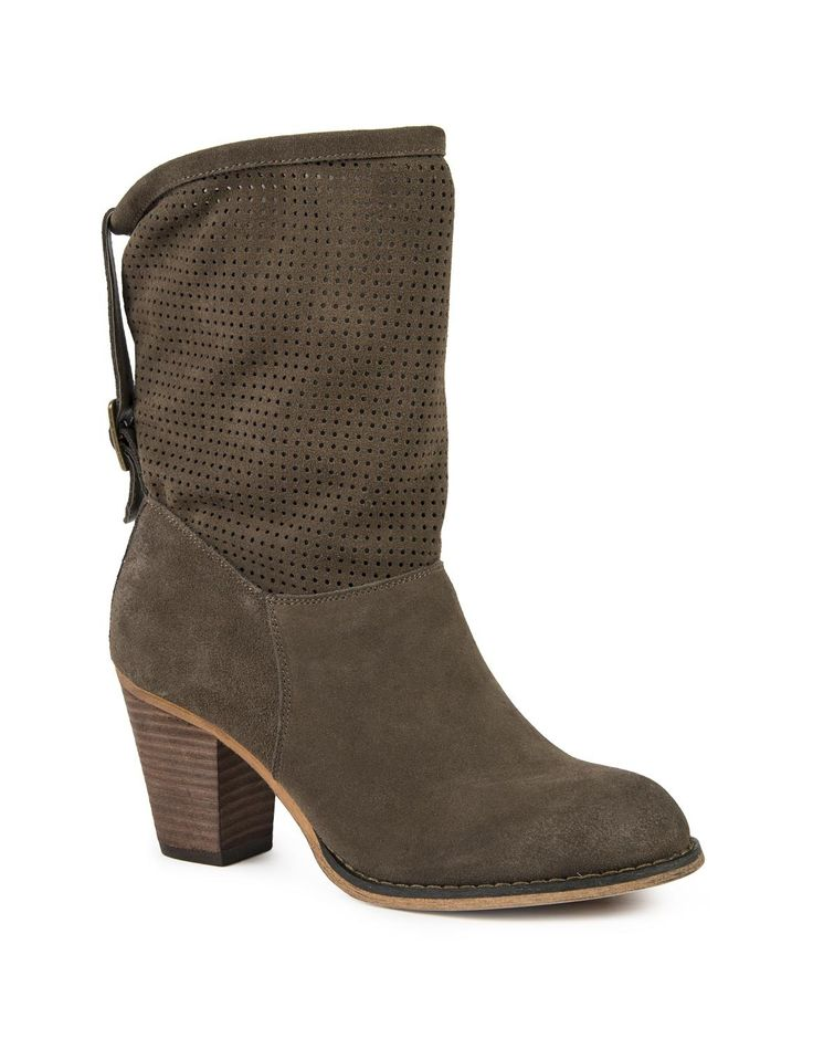 Perforated Suede Cowboy Boots
