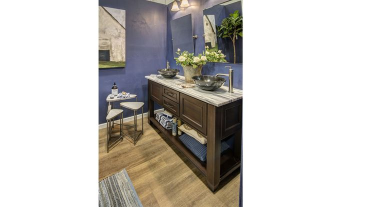 Rustic bathroom at Dulles Expo Center - accessorized by Belfort Furniture
