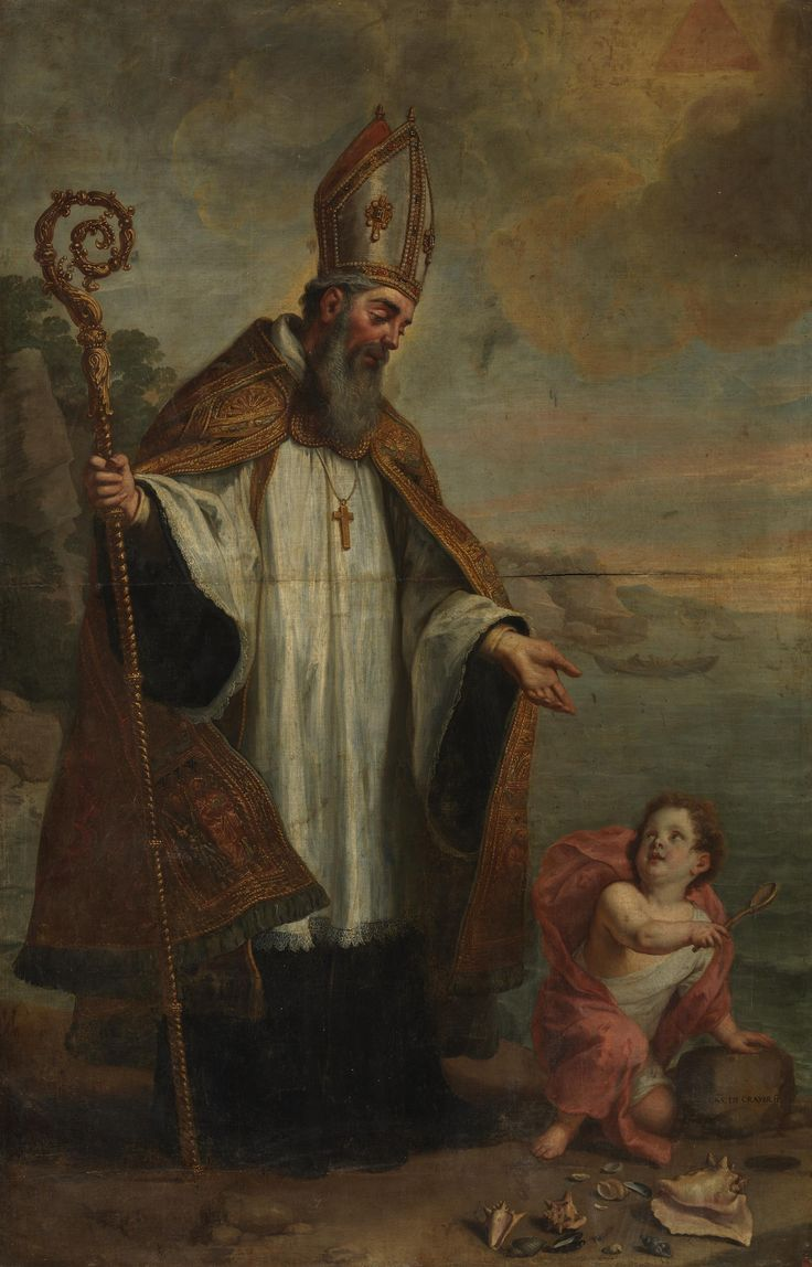 Saint Augustine of Hippo / San Agustín de Hipona // Ca. 1655 // Gaspar de Crayer // St. Augustine and the Child on the Seashore // #HolyTrinity #Theology