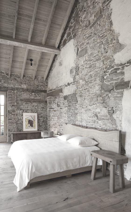 brick wall, bedroom