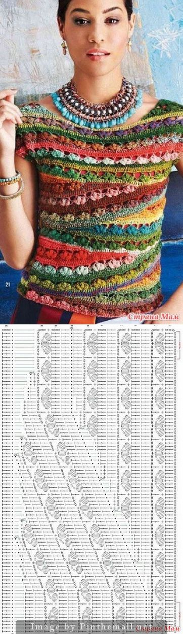 crochet top with bright asymmetric strips - uses short row technique to overlay the sloping rows - neat