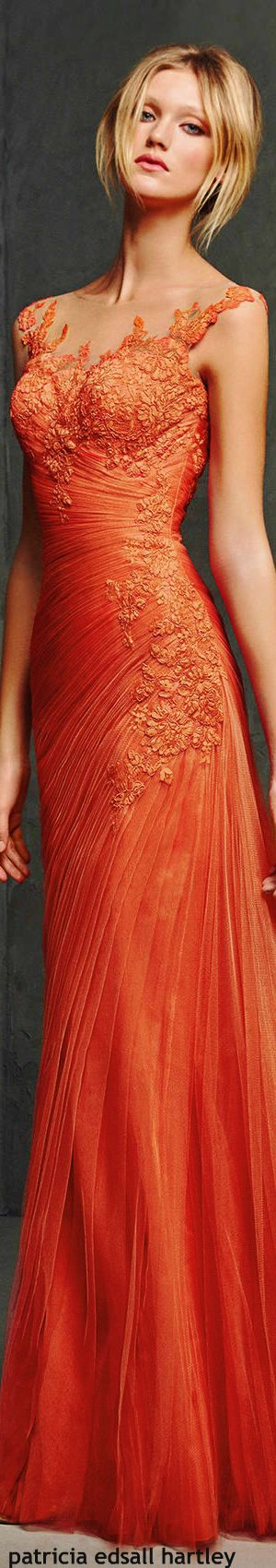Pronovias | fashion and glamour | the elegant evening gown in orange | story of…