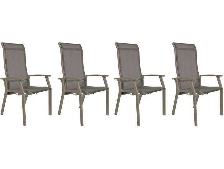 Gartenstuhle Mit Textylenbezug In Beige Und Einem Gestell Aus Aluminium In Beige Ruckenlehne Verstellbar 4er Set Masse B H Gartenstuhle Stuhle Balkonstuhle