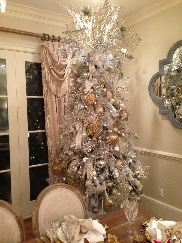 17 best images about sliver and gold christmas on for Christmas tree mural