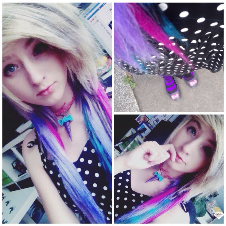 Scene girl outfit Unicorn horn neckler : made by me Shirt : ? Choker : made by me   ChibiMikuXx