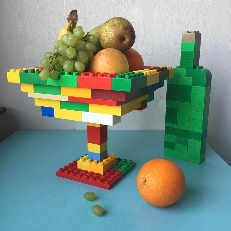 Still life. Skull missing. Art Lego Duplo piece for my Instagram feed.   #stilllife #fruits #oranges #pear #apple #lego #duplo