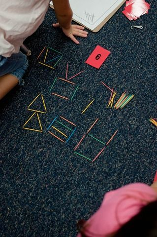 great math center- what can you build with this number of toothpicks? Build and draw