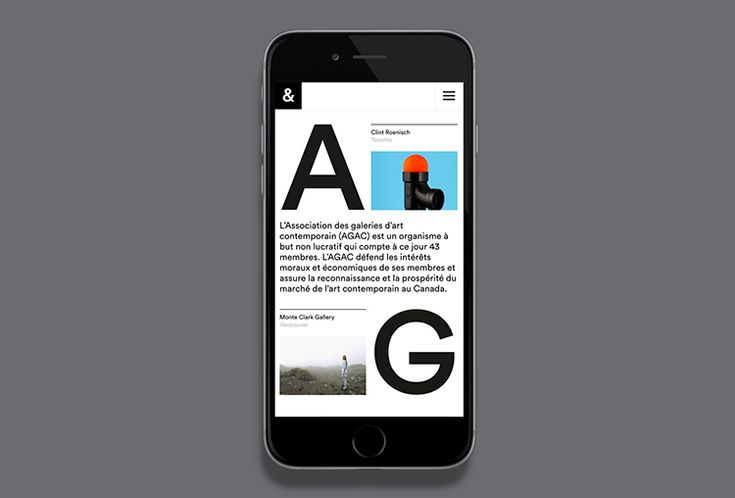 Picture of mobile website designed by Bureau Principal for the project AGAC. Published on the Visual Journal in date 11 February 2016