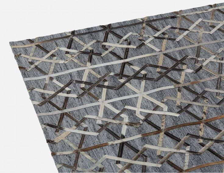 NEHA - Tapis en cuir avec poil et viscose 183cm x 274cm - Gris