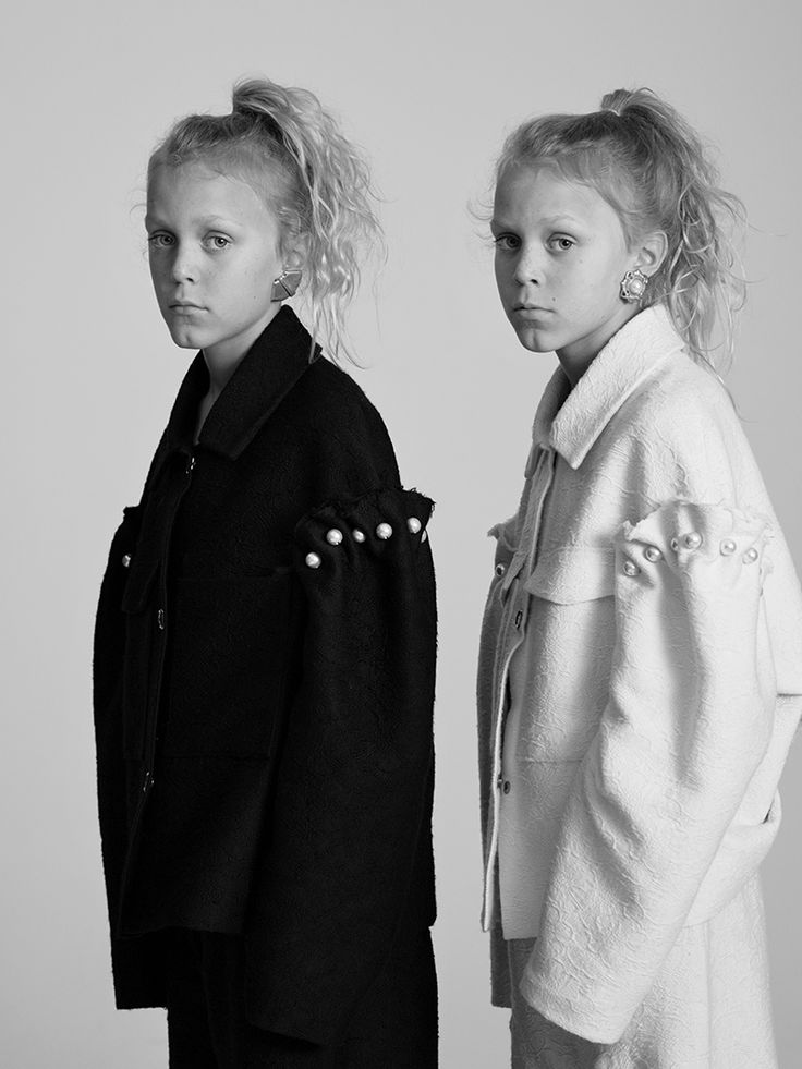 """""""Twinning is winning. A fashion cliché that also happens to be true."""" Casper & Louis, 10 Photographed by Toby Coulson. #motherofpearl #pearlyqueens #playdressup #oversized"""