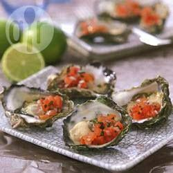 Oysters with tomato salsa