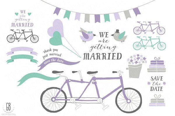 Tandem bicycle, wedding, lavender by GrafikBoutique on @creativemarket