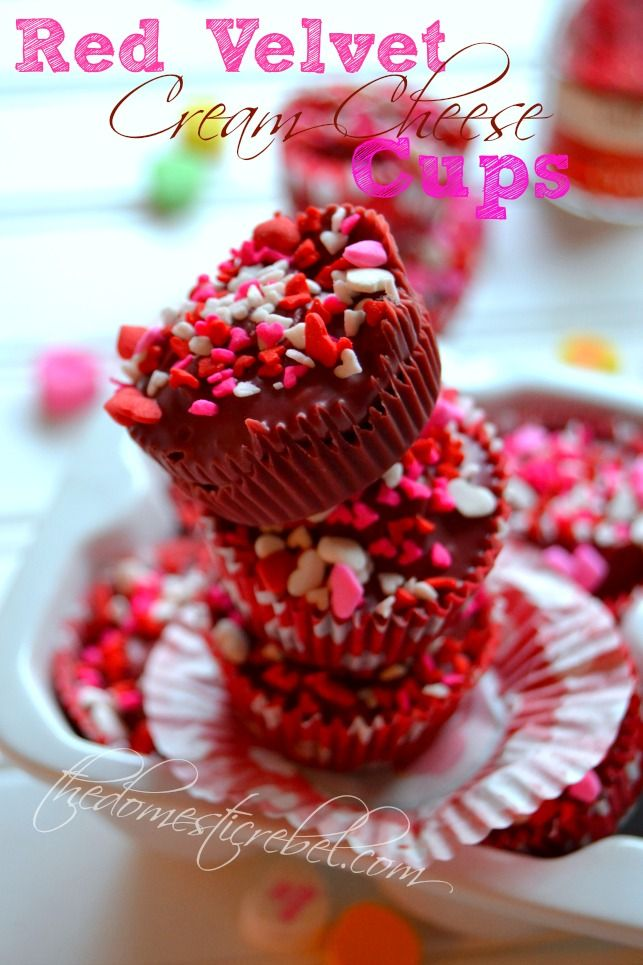 Red Velvet Cream Cheese Cups are a fun alternative to peanut butter cups. Made with red velvet flavored candy melts and filled with a soft and fluffy cream cheese frosting, they would make for great gifts during the holidays! Use holiday sprinkles to make them more festive.
