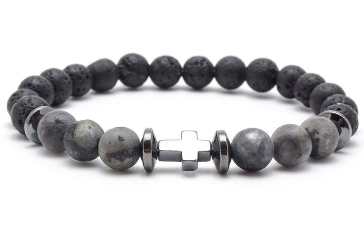 Mens Armbands – Bracelet mala stone lava larvikit hematite – a unique product by Blackif on DaWanda