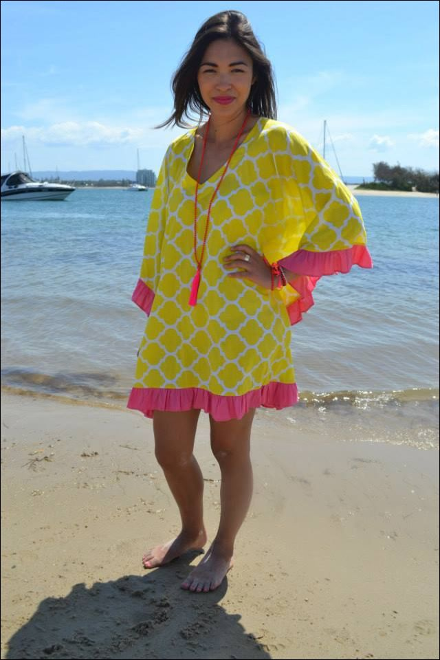 Frill Kaftan $60.00AUD. Comes in S, M, & L. Visit www.alongcamepoppet.com to order! #frill #kaftan #yellow #pink #resortwear