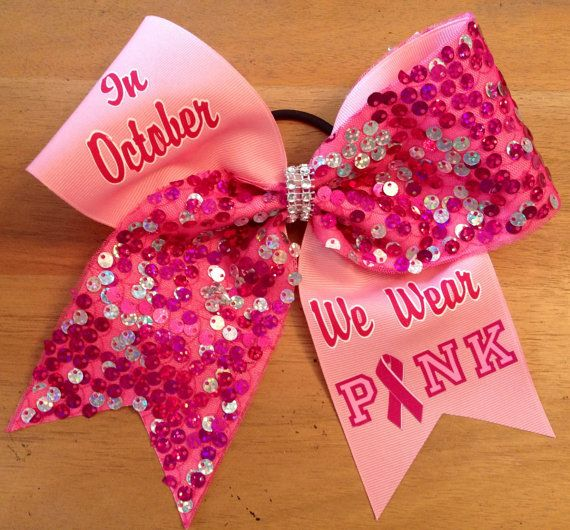 Pink cheer bow  breast cancer awearness cheer bow  by Bellabows76, $12.00