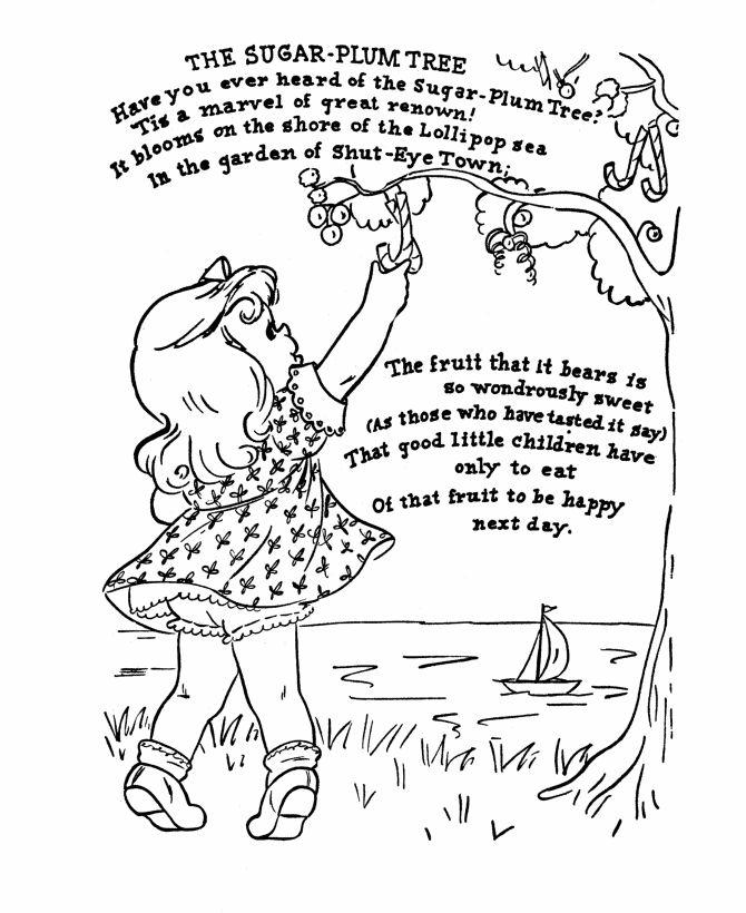 nursery rhyme coloring page the sugar plum tree