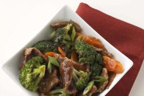Овощи и говядина с имбирем