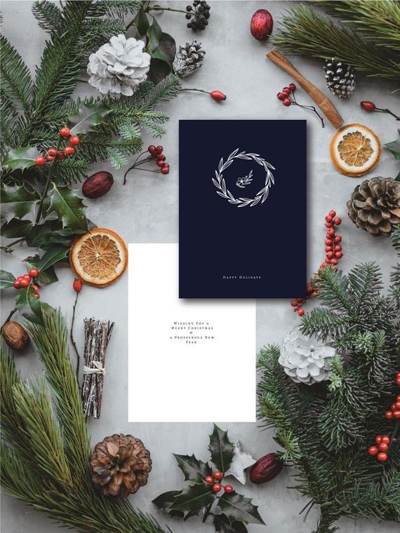 Wreath Christmas Card Templates For Printing At Home Instant Etsy Christmas Card Template Christmas Cards Etsy Printable Christmas Cards