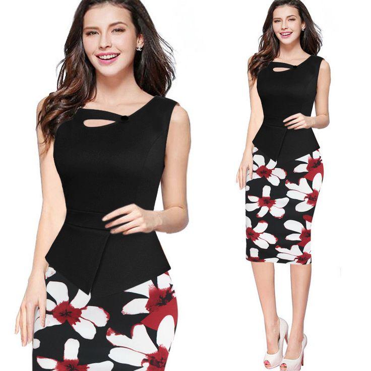 Splicing Print Scoop Sleeveless Short Office Dress