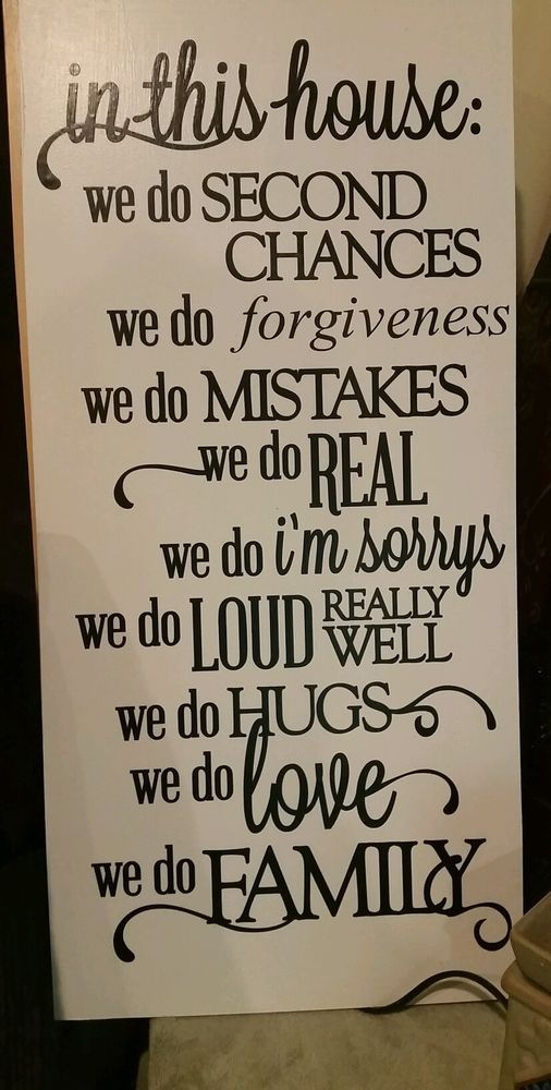 In This House We do forgiveness Family Quote Wooden Wall Sign 12x24 in Home & Garden, Home Décor, Plaques & Signs | eBay