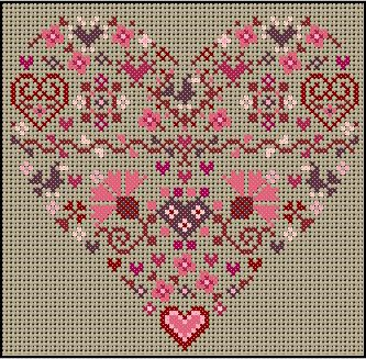 Valentine heart cross-stitch - free