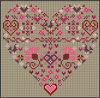 Valentine heart cross-stitch - free