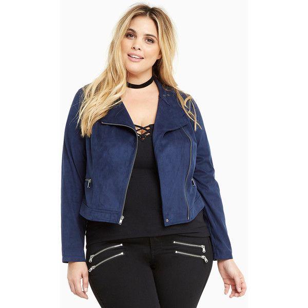 Torrid Faux Suede Zip Moto Jacket ($45) ❤ liked on Polyvore featuring outerwear, jackets, torrid, peacoat, motorcycle jacket, plus size peacoat, faux suede moto jacket, plus size womens pea coat and plus size biker jacket