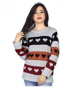 sweater wanita murah berbahan knit warna abu-abu | tokofobia.com toko fashion online murah dan berkualitas