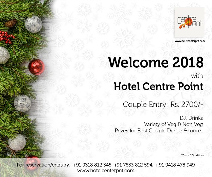 #Welcome 2018 with #HotelCentrePointDharamshala Couple Entry: Rs. 2700/- Child Above 10 Years Old: Rs. 1000 /- *D.J. *#Drinks (100 Piper 12yr Old, Vodka) Complimentary Shooter at Mid Night Variety of #Veg and #NonVeg #Food & #Snacks #Prizes for Best #Couple #Dance and more...  For reservations call ✆ +91 9318 812 345, +91 7833 812 594, + 91 9418 478 949  #Party #Celebrations #Restaurant #Dharamshala #Fireworks #MidNight #HappyNewYear #happy #NewYear #gift #love #NewYearsEve #win #NewYear2018